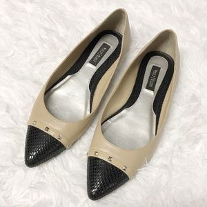 WHBM nude black leather pointy toe flats sz 7.5M